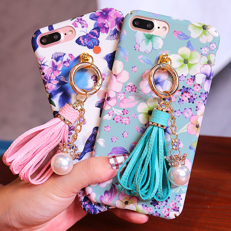 For iphone 7 case Luxury Fashion Pearl Diamond Flower Tassels Case For iphone 6 6s 7 Plus Hard Phone Cases Cover Fundas Coque