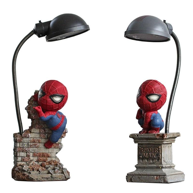 Cartoon Avengers Action Figures Spider Man Night Lamp Resin Children Bedroom LED Night Light for Boy Kids Xmas Creative Gift (1)