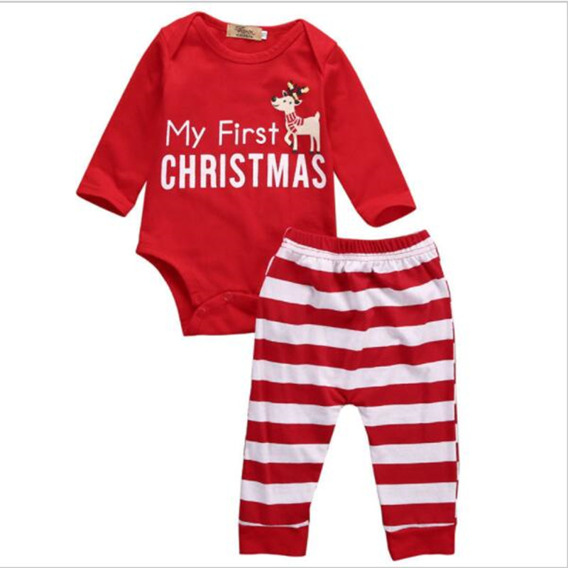 706c7d42e 2019 2pcs My First Christmas Outfits Newborn Baby Boy Girl Long Sleeve  Romper+Striped Pants Cartoon Baby Cotton Clothing Sets