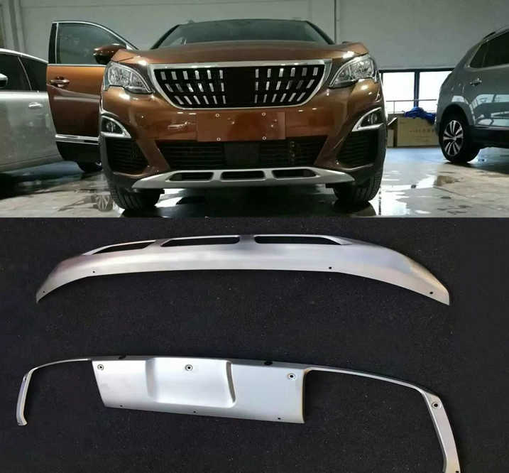 2 Stks/set Rvs Voor & Achter Bumpers Skid Bumper Cover Protector Molding Voor Peugeot 3008 3008 Gt 2016- 2018 Auto Styling