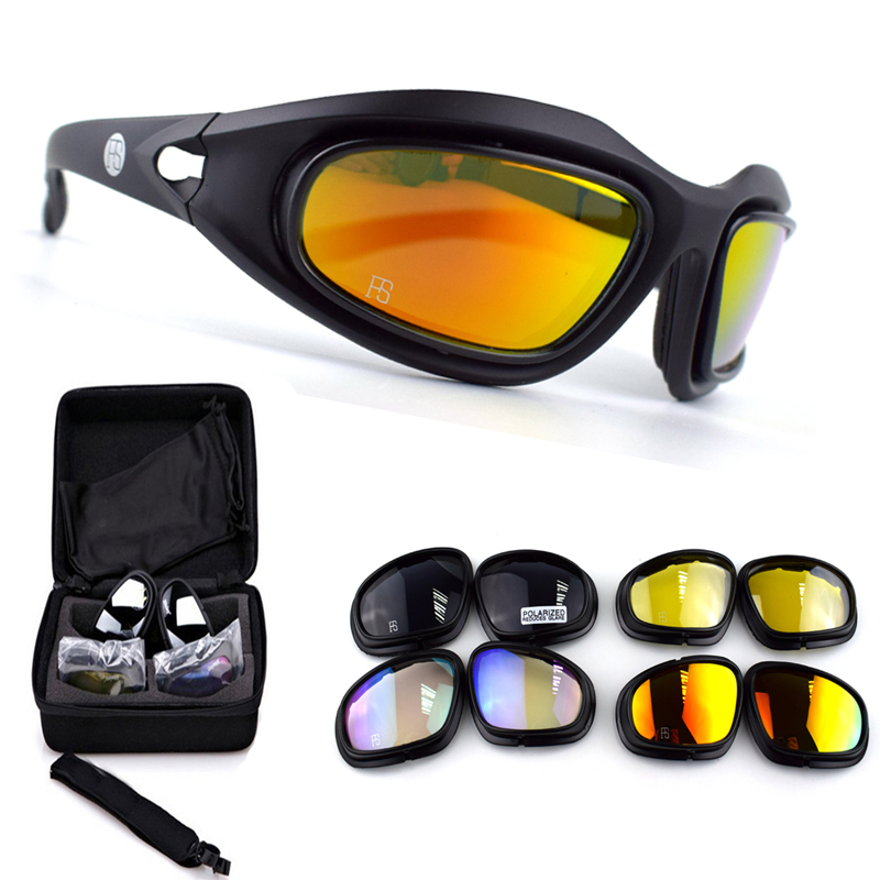 Men Tactical Sunglasses X7 C5 Sport Polarized Glasses Military Airsoft Goggles Army Shooting Glasses 4 Lens Hiking Eyewear