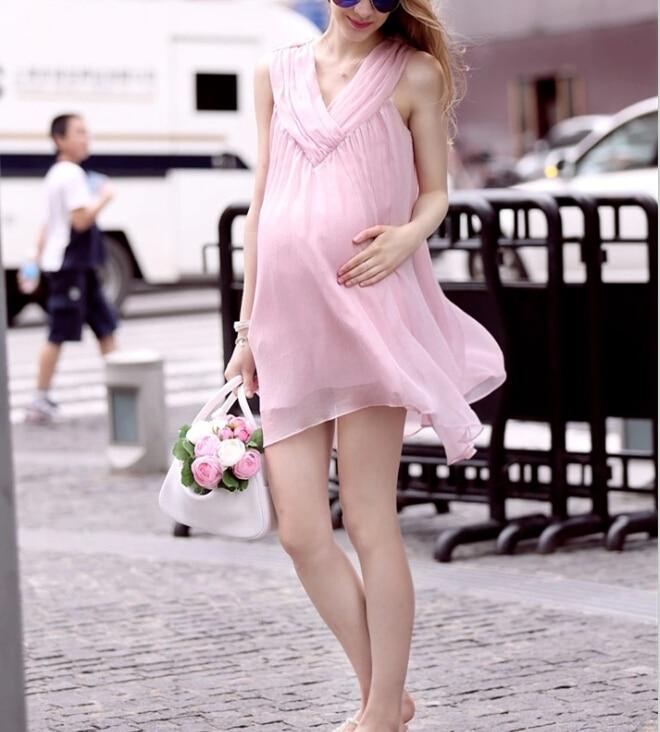 ba718036f27 2016 Summer Pregnancy Clothing Loose Design Elegant Chiffon Maternity  Dresses cute for Pregnant Women sleeveless maternity dress-in Dresses from  Women s ...