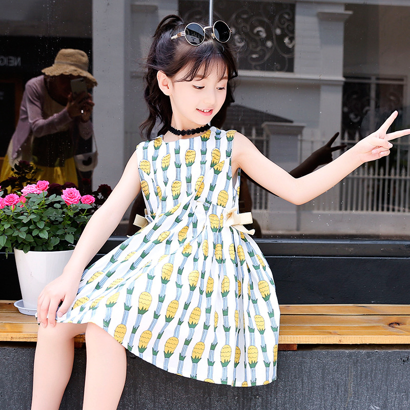printed sleeveless a line dress baby big girls summer cute dresses for kids teenagers clothing new 2018 cotton children sundress