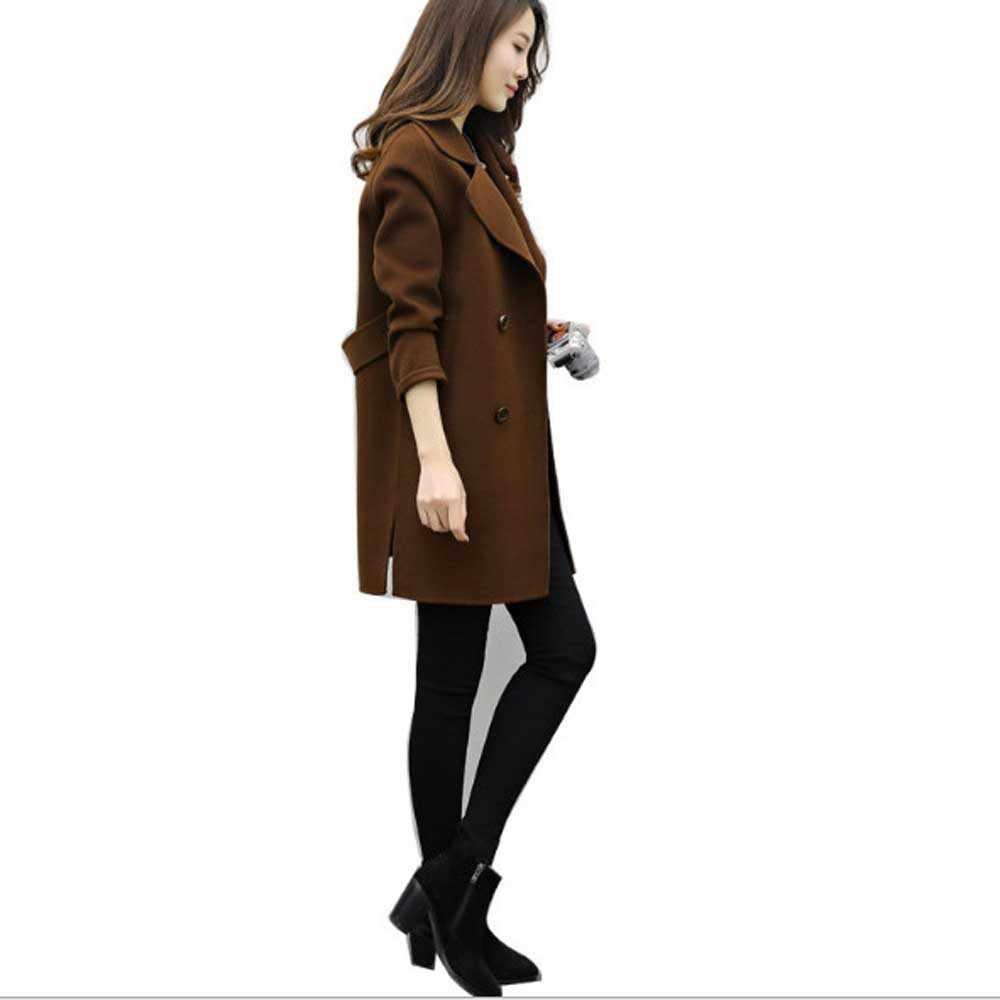 女性ダブルブレストのオーバーコート増粘長袖ターンダウン襟スリムフィット女性アーミーグリーンウールコート防風ウォームジャケット