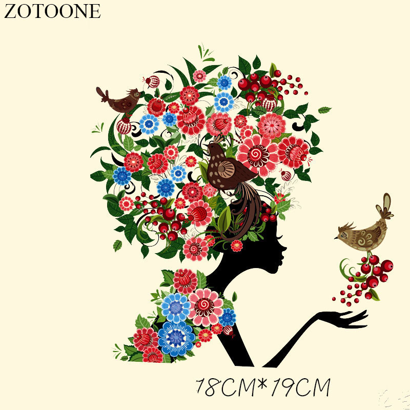 Zotoone bird iron on applique embroidery flower patches
