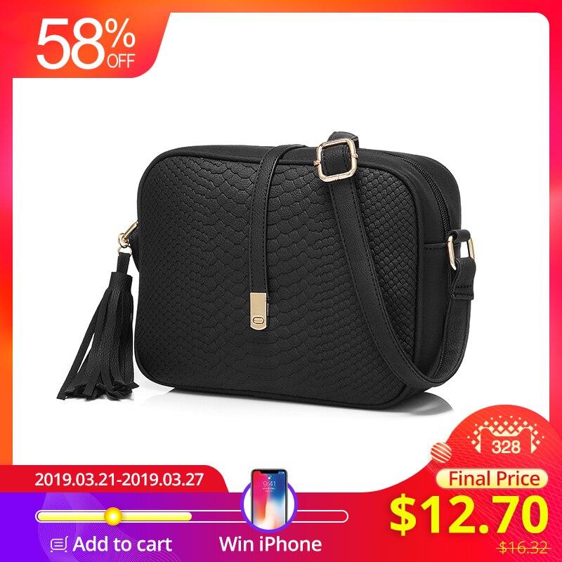 e3b9cf21b237 REALER сумка женская через плечо на молнии, ретро маленькая сумка-мессенджер  с кисточкой,