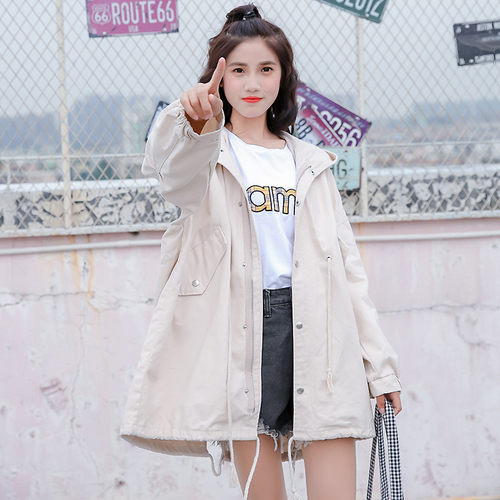 FTLZZ Women Windbreaker Coats Spring Autumn Casual Hooded Long Sleeve Tie Up Female   Trench   Coat Loose Outerwear