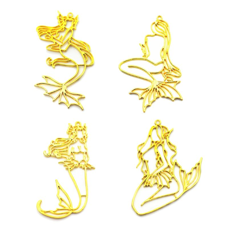4Pcs Beauty Mermaid Blank Frames Pendant Open Bezel Setting UV Resin Jewelry DIY