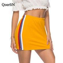 QoerliN Elastic Waist Sportwear Skirts Women Rainbow Striped Sexy Casual Bottoms Female New Arrival Yellow Skirt Plus Size