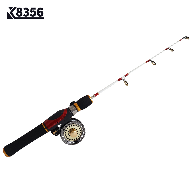 52cm Winter Compact Eis Angelrute FRP Spinning Casting Rods Gun Griff DE