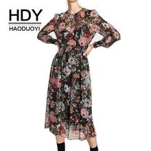 HDY Haoduoyi Brand Multi Printed Bohemian Dress Women O-Neck Petal Sleeve Sheer Beach Style Party Chiffon Vestidos Lady