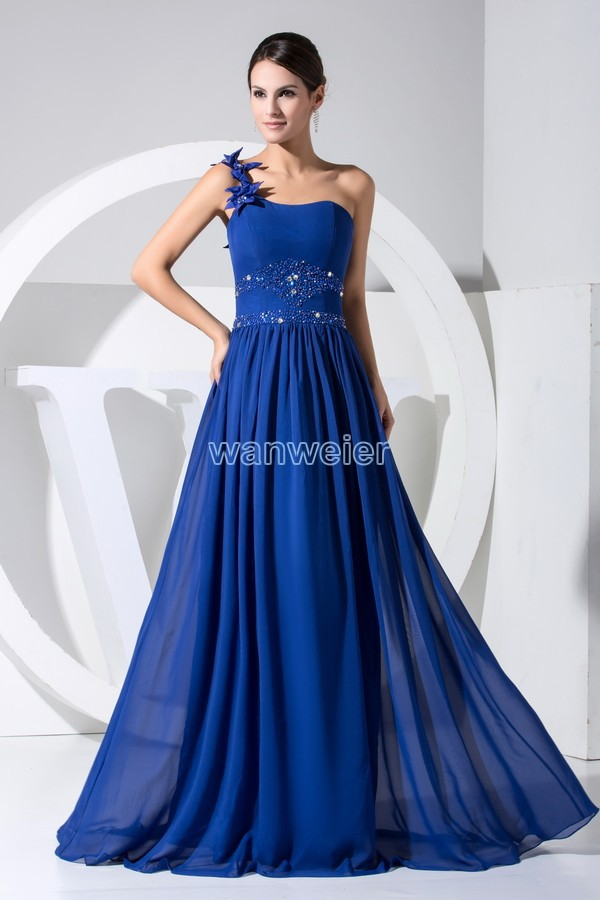 free shipping hot seller new design one shoulder crystal custom color/size navy blue chiffon women prom gown bridesmaid dresses