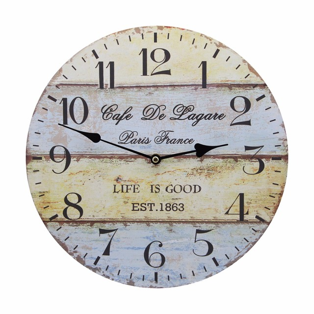 Vintage Rustic Country Tuscan Style Silent Wooden Wall Clock Home Decor – Sea Anchor B