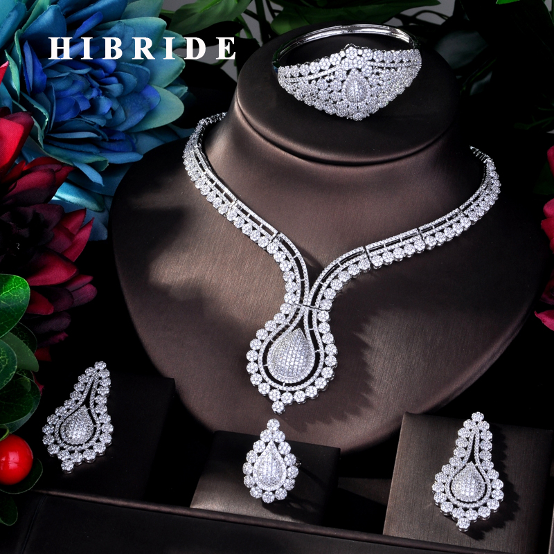 HIBRIDE Fashion Jewelry AAA Cubic Zirconia Dubai Bridal Jewelry Sets For Women  Wedding Party Accessories Jewelry N-769HIBRIDE Fashion Jewelry AAA Cubic Zirconia Dubai Bridal Jewelry Sets For Women  Wedding Party Accessories Jewelry N-769