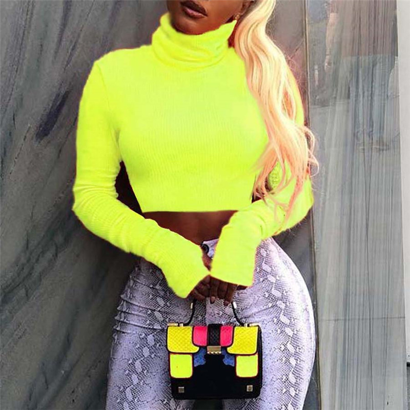 2019 winter woman sweater fashion Turtleneck long sleeve solid color slim knitting pullovers crop sweater
