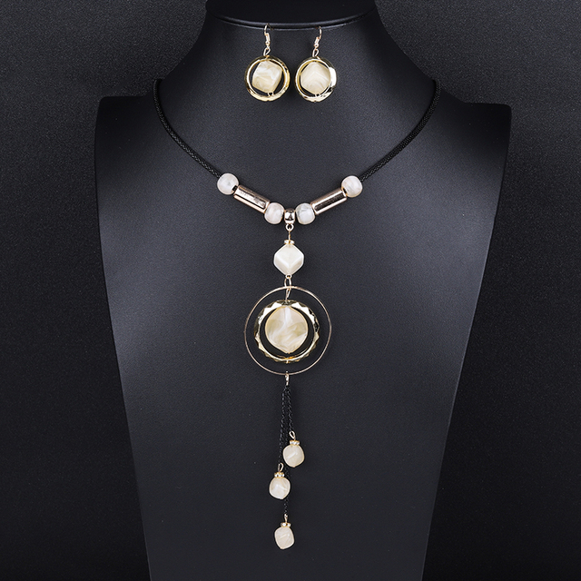 Wholesale Bohemian Tassel Long Pendant Necklaces And Drop Cz Earrings Sets Fashion Statment Jewelry Set 2