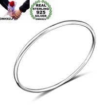 OMHXZJ Wholesale Personality Fashion OL Woman Girl Party Gift Silver Simple Thin 925 Sterling Cuff Bangle Bracelet BR151