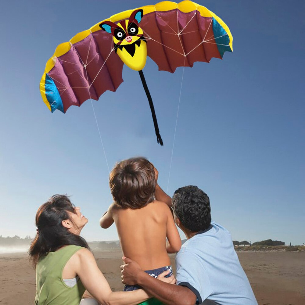 140 * 50cm Frameless Soft Dual Line Stunt Parafoil Kite Parachute Sports Beach Flying Cartoon Bat Kite Outdoor Beach Flying Toy