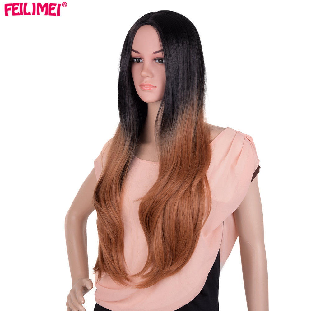 Feilimei Ombre Brown Wig Synthetic Japanese Fiber Long Wavy Females Hair Extensions 60cm 300g Black Gray Purple Blonde Wigs