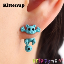 Kittenup New Multiple Color Classic Fashion Kitten Animal brincos Jewelry Cute Cat Stud font b Earrings