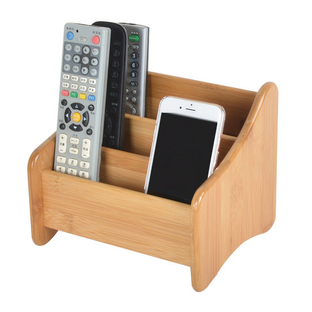 3 Grid Bamboo Remote Control Storage Box Stationery Headphone Cable Cell Phone Desktop