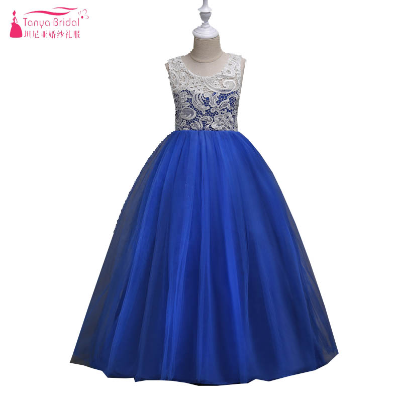 Royal Blue Tulle Princess   Flower     Girls     Dresses   2018 Lace Long   Girls   Ceremony First Cumunion   Dresses   Performance   dress   ZF026
