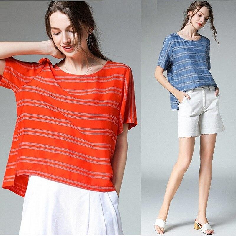 Été décontracté rayure chemise lâche blouse femmes grande taille asymétrique Cupro soie Cool blouse dessus de chemise grande taille raglan manches 4x