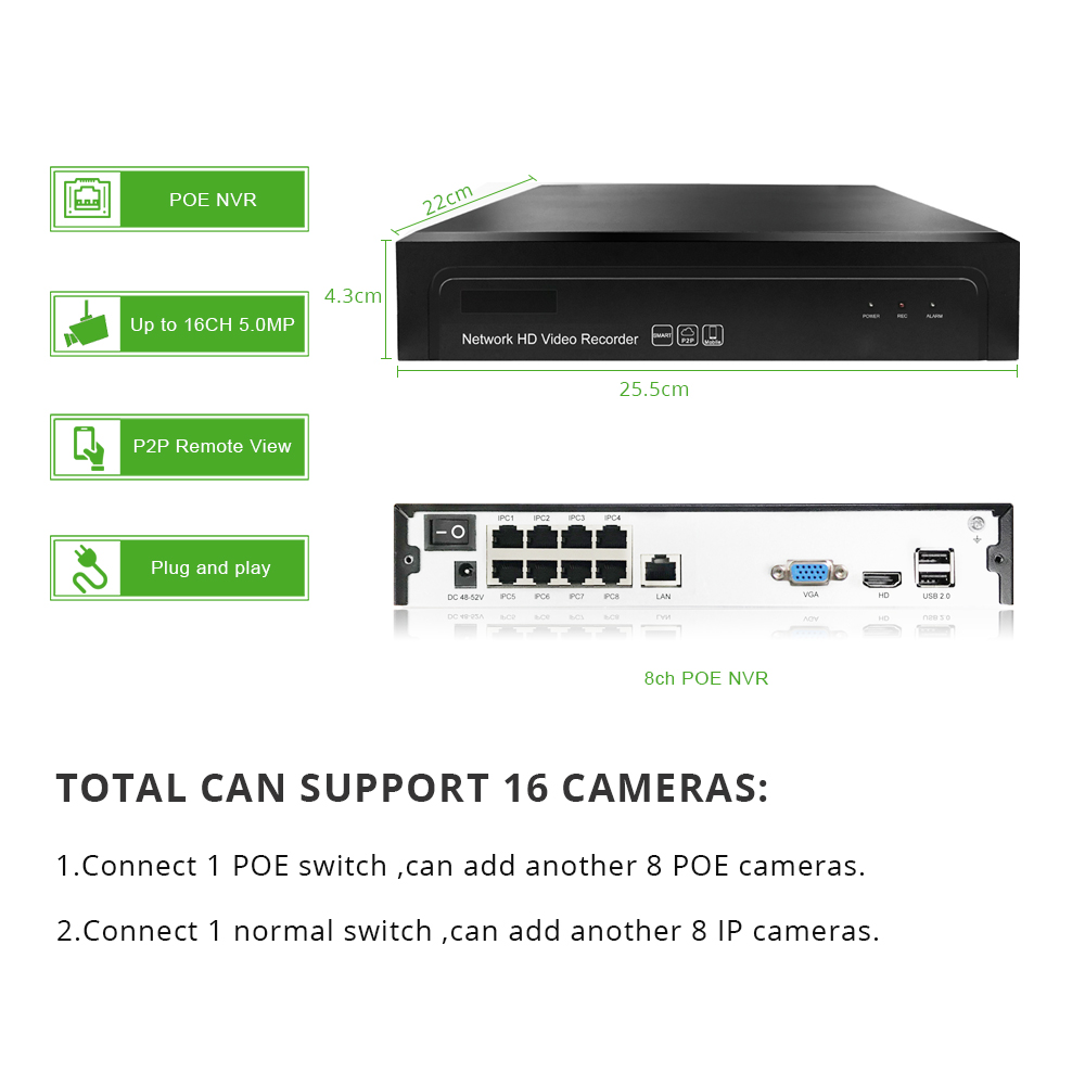 Image 3 - Smart 8ch 5MP POE IP Camera System Kit H.265 Security POE NVR up to 16ch Outdoor Waterproof CCTV Cam Alarm Video P2P G.Craftsman-in Surveillance System from Security & Protection