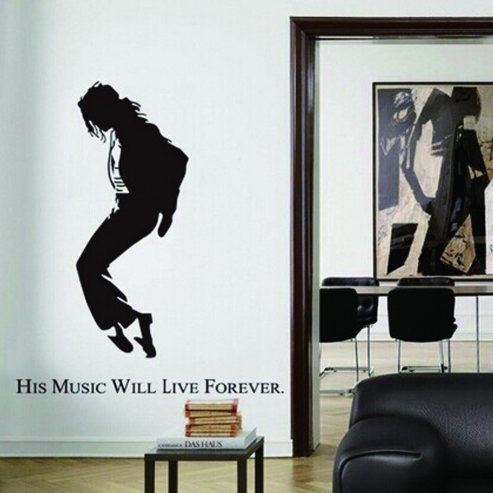 portrait wall stickers Michael Jackson 50*70 cm pvc removable wall paper  home decoration