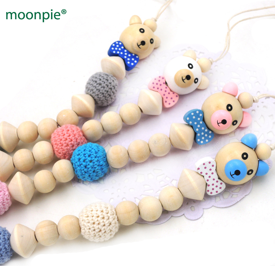 2017 NEW VERY CUTE WOODEN BEAR BEADS 20MM COTTON CROCHET BEAD BABY PACI DUMMY HOLDER SOOTHIE CHAIN HANDMADE BABY GIFT NT212