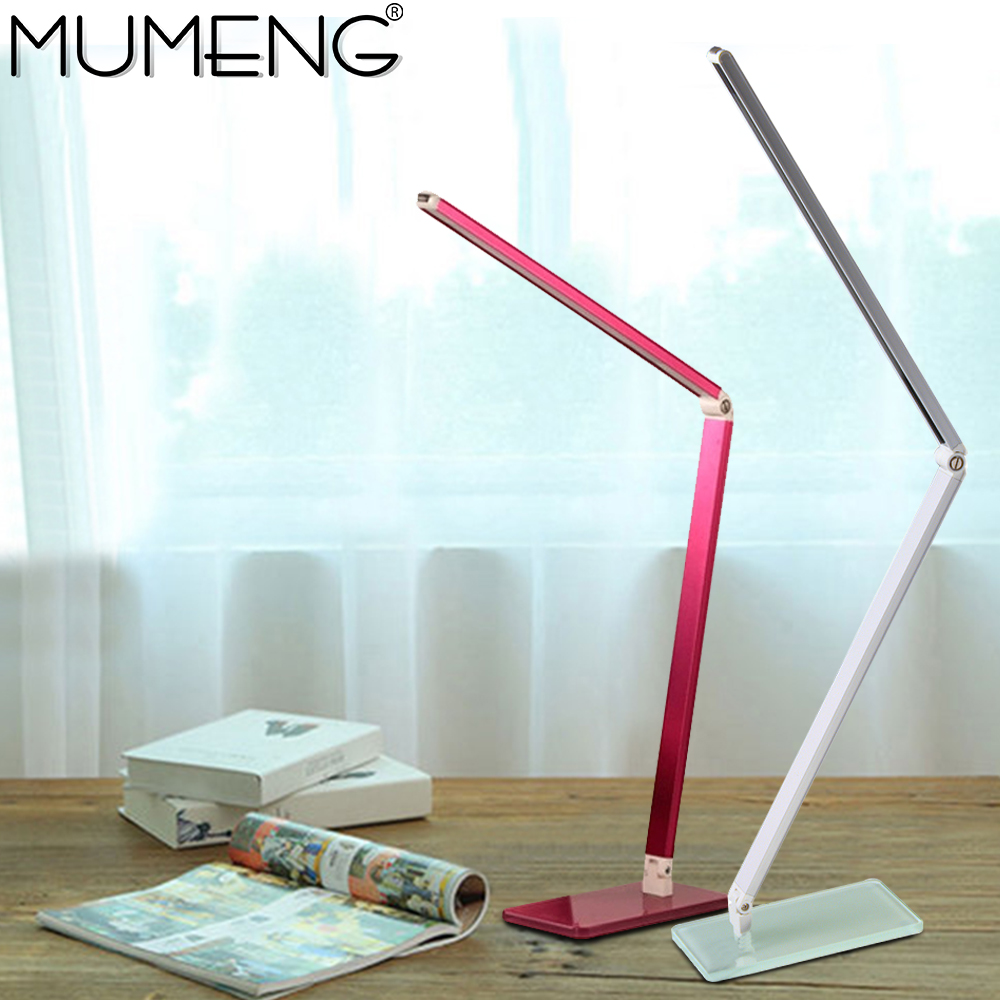 mumeng LED Desk Lamp Dimmable Table Light Folding Portable Office Laptop Fixture 7W Eye-care Reading Study Book Light ultra thin rechargeable 200lm 2 5w led table lamp light eye care dimmable desk lamp touch led reading lamp 3 lighting mode