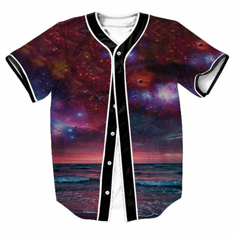 3D бейсбольная рубашка мужская 2019 космическая галактика принт мужская футболка Повседневная бейсбольная трикотажная футболка Homme Harajuku Хип Хоп Уличная футболка