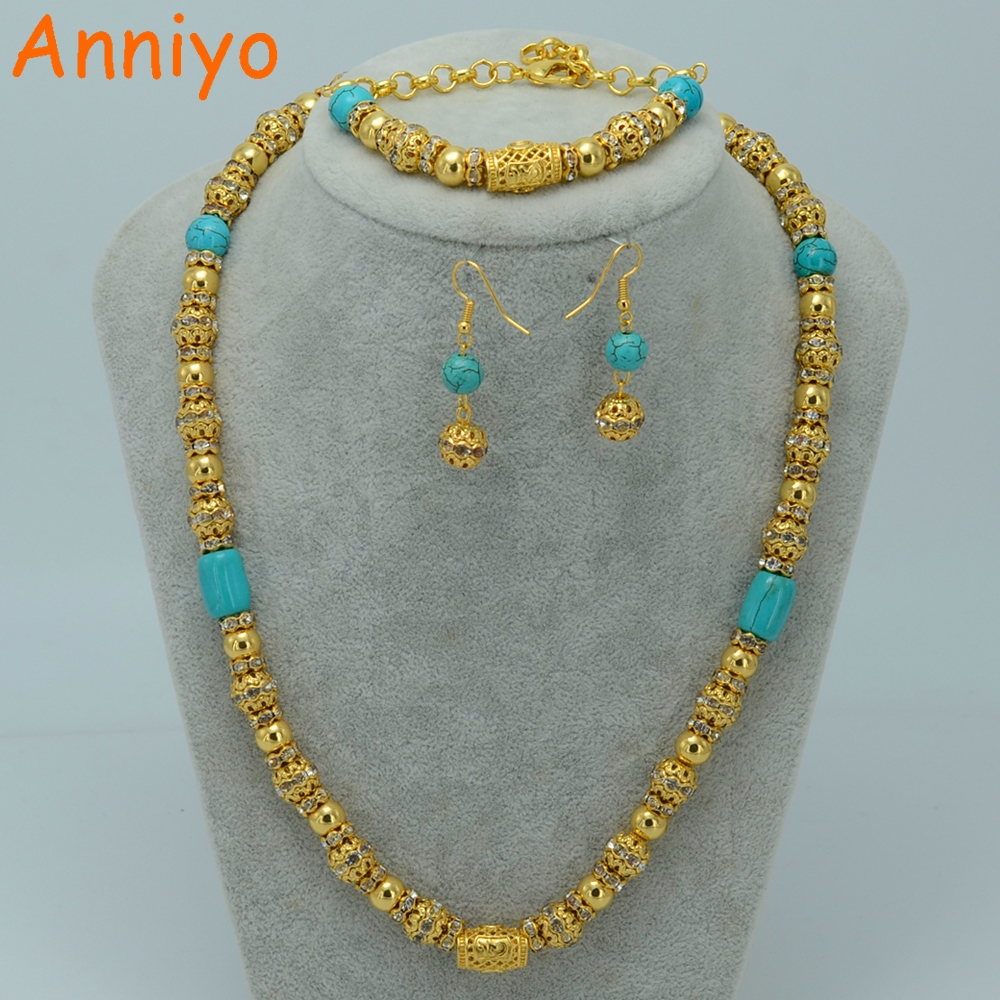 Anniyo Allah Necklace Set Jewelry Gold Color & Blue Ston