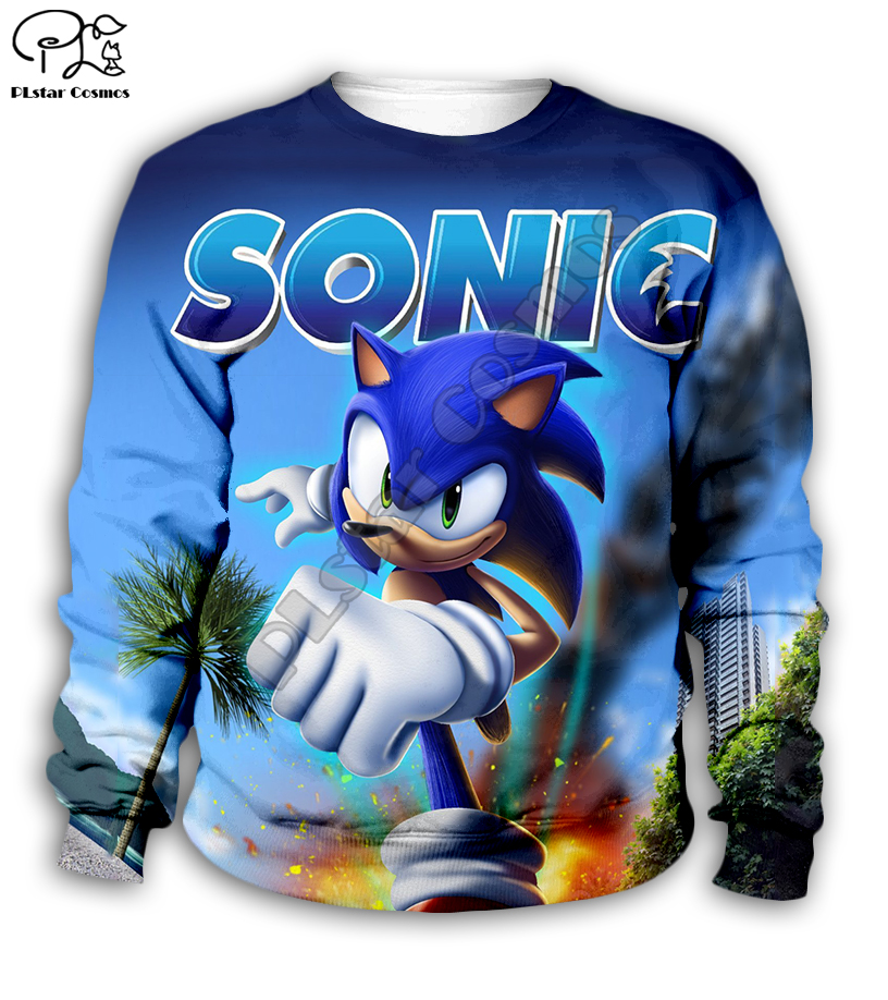 family shirts Anime Super Sonic 3d Hoodies Children zipper coat Long Sleeve Pullover Cartoon Sweatshirt Tracksuit Hooded pants in Matching Family Outfits from Mother Kids