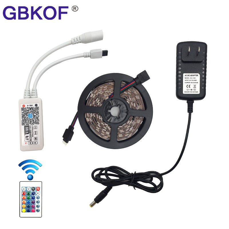 Sconto 12 V 10 M 5 M RGB HA CONDOTTO La Striscia 5050 5 M/Roll Impermeabile led luce 10 M + WiFi Controller + DC 12 V Power Supply EU UK US au