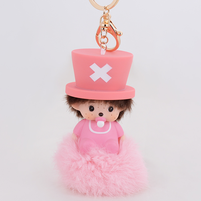 Pink Momchichi Doll Pendant Cut Babay Car Charms Wholesale Keychain rabbit fur ball keychain Keyrings for women girls