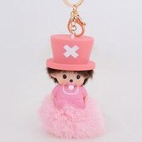 Roze Momchichi Pop Hanger Cut Babay Auto Charms Groothandel Sleutelhanger konijnenbont bal keychain Sleutelhangers voor vrouwen meisjes