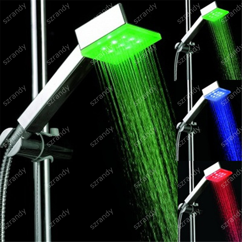Drop shipping 3 colors Square LED Trichromatic lamp Temperature control Hydroelectric power Shower head without package 8008-A4