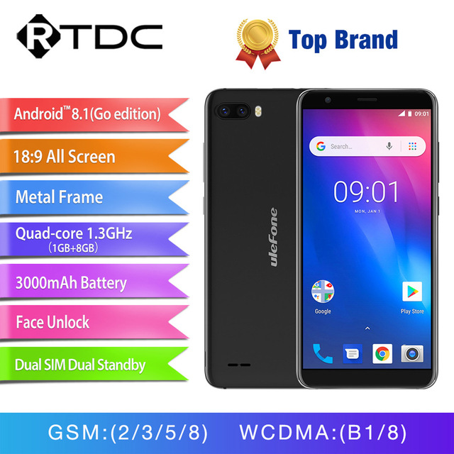 Original Ulefone S1 Android 8.1 smartphone MT6580 Quad Core 5.5''HD 8MP 1GB RAM 8GB ROM 3000mAh 3G WCDMA Face ID Mobile Phone