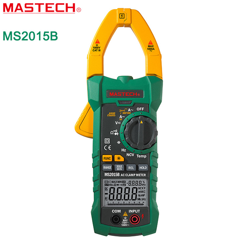 MASTECH MS2015B Digital Clamp Multimeter Auto Range 6000 Counts AC/DC Tester True RMS temperature measurement Free shipping