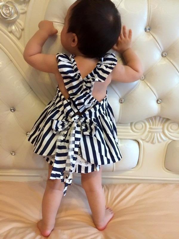 0-24 M Newborn Baby Dziewczyny Odzież Dla Niemowląt Dzieci Letnie Sukienki W Paski Top + Figi 2 sztuk Outfit Malucha dzieci Odzież Ustaw 7