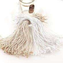 100 pces 20cm comprimento médio linha de cera de bala tag corda cabos pendurado tablet para vestuário saco etiquetas cartões, diy acessórios de roupas