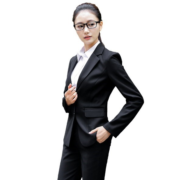 Ol Fashion Style Women Black Grey Blue Pants Suits Women Business Suits Formal Office Suits Work Blazer+trouser Suit Feminino