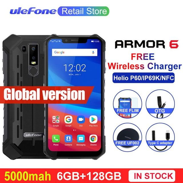 """Ulefone Armor 6 IP68 IP69K Waterproof Mobile Phones Android 8.1 6.2"""" Helio P60 6G+128G Face ID Wireless Charge Rugged Smartphone"""