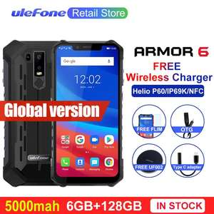 "Ulefone Armor 6 IP69K Waterproof Mobile Phones Android 8.1 6.2"" Helio P60 Octa Core 6GB+128GB Face ID Wireless Charge Smartphone"