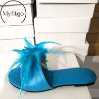 Myfitgo Luxury Large Size 35 46 Real Fur Women Flat Slippers Feather Slides Sandals PU Female Slip on Beach Shoes Ladies Shoes