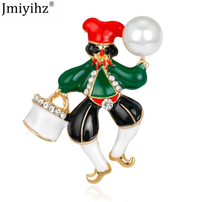 Jmiyihz Vintage Cute Clown Brooch For Women Punk Jewelry Drip Oil Austrian  Rhinestone Pearl Brooches And f1f651180bd7