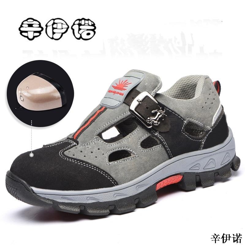 New Summer Sandal 2018 Men Steel Toe Cap Outdoor Shoes Breathable Low-cut Sneaker Shoes Skid Proof Outdoor Trekking Footwear 45