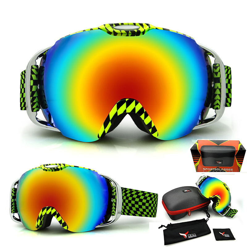 62b45ebedb9 BHWYFC Russia Snowboard Goggles Men Ski Goggles Double Glass Lens UV ...
