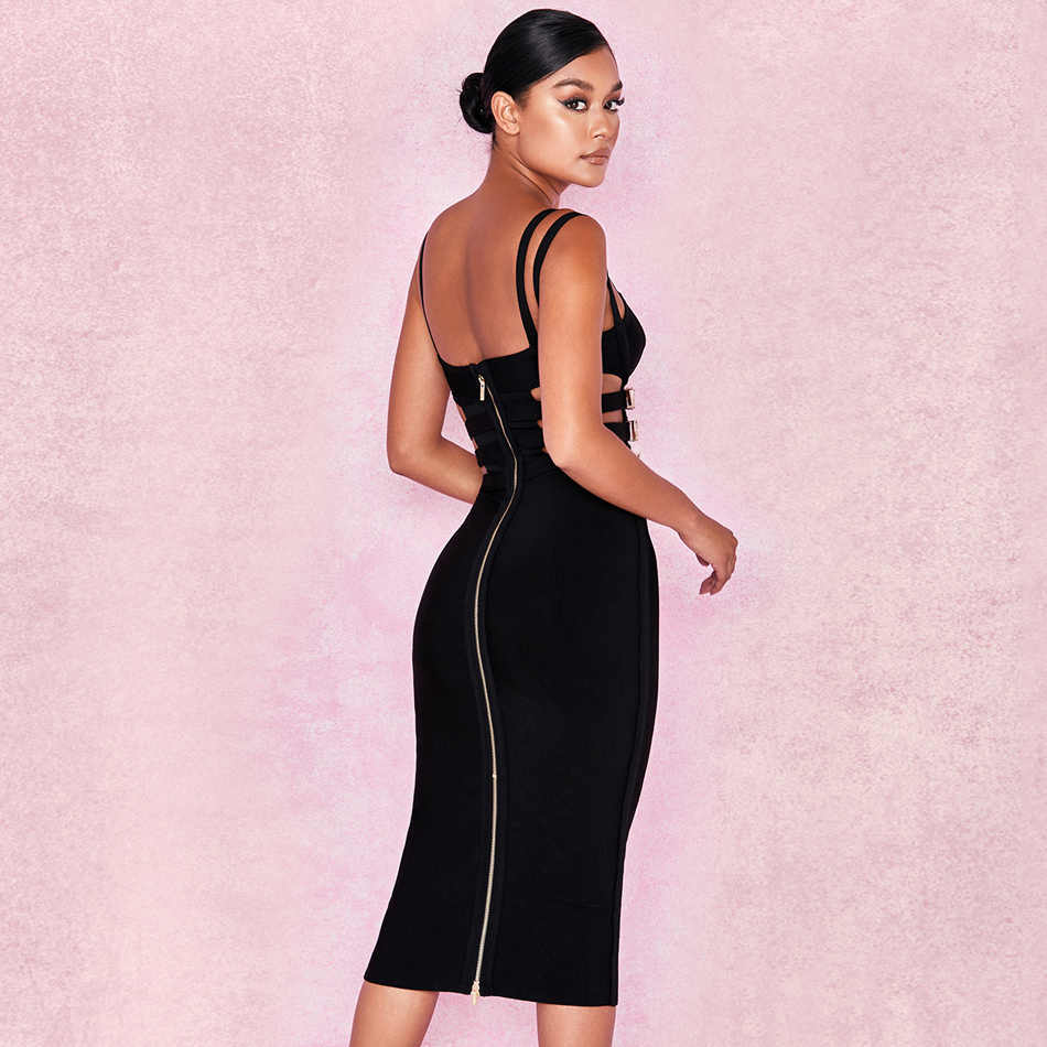 0d804ff1c756 ... Sexy Buckle Embellished Black Bandage Dress Double Spaghetti Strap  Sleeveless Metal Ring Cut Out Midi Skinny ...
